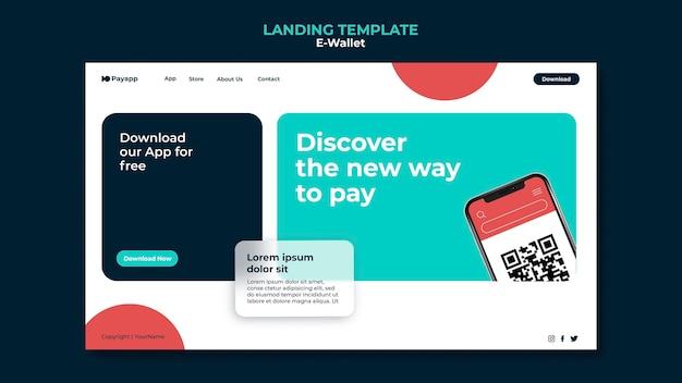 Modèle de conception de page de destination de portefeuille électronique