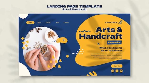 Modèle de conception de page de destination pour les arts et l'artisanat