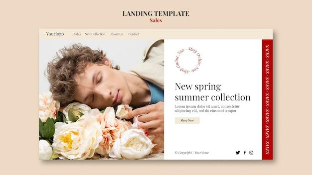 Modèle de conception de page de destination pour la collection de mode printemps-été