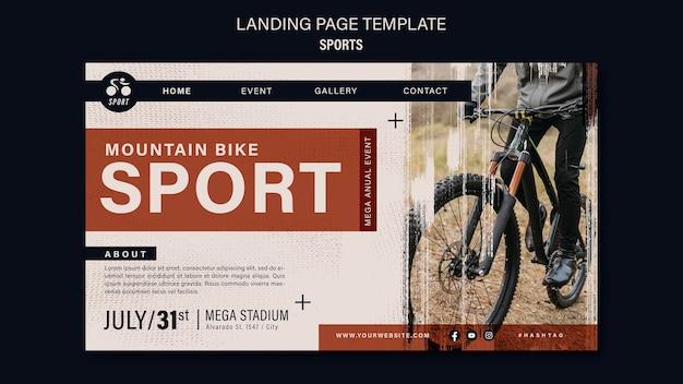 Modèle de conception de page de destination de sport de vélo