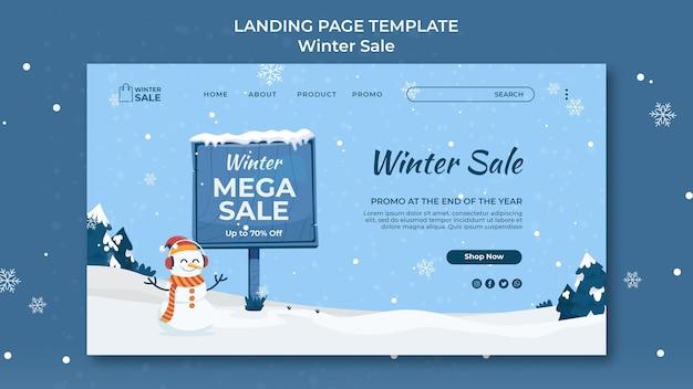 Modèle de conception de page de destination de vente d'hiver