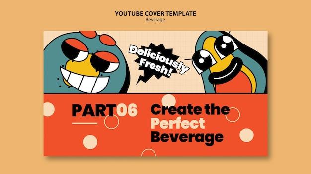 Modèle de conception de personnages de boissons de couverture youtube