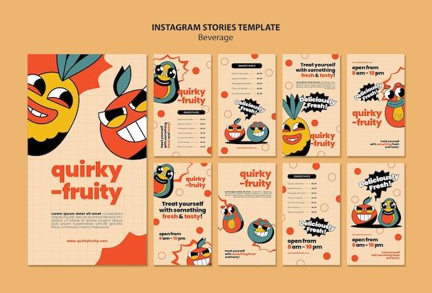 Modèle de conception de personnages de boissons insta stories