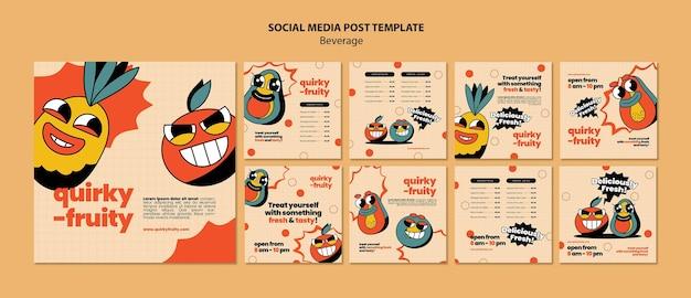 Modèle de conception de personnages de boissons sur les réseaux sociaux