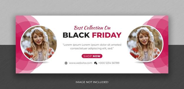Modèle de conception de photo de couverture facebook de médias sociaux black friday fashion sale
