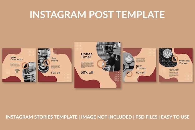 Modèle de conception de poste instagram café