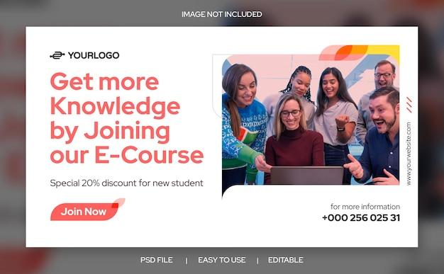 Modèle de conception propre de bannière web de promotion de cours en ligne