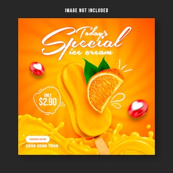 Modèle de conception de publication de bannière de médias sociaux spéciale délicieuse crème glacée