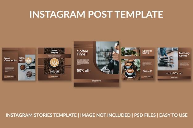 Modèle de conception de publication instagram dégradé de café