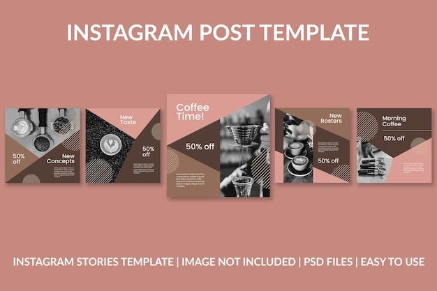 Modèle de conception de publication instagram géométrique de café