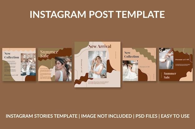 Modèle de conception de publication instagram organique de mode