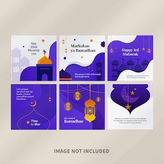 Modèle de conception de publication instagram ramadan mubarak