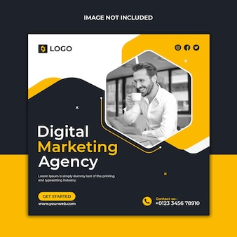 Modèle de conception de publication de marketing numérique et de médias sociaux d'entreprise et de bannière web
