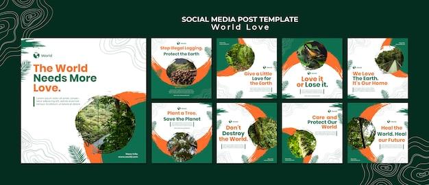 Modèle de conception de publication sur les médias sociaux de l'amour du monde