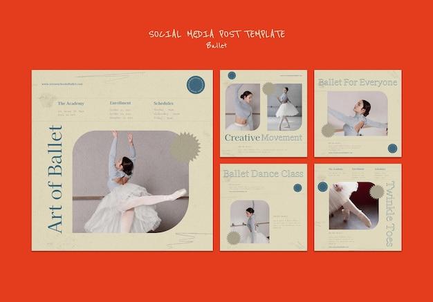 Modèle de conception de publication de médias sociaux de ballet