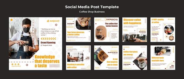 Modèle de conception de publication de médias sociaux d'entreprise de café