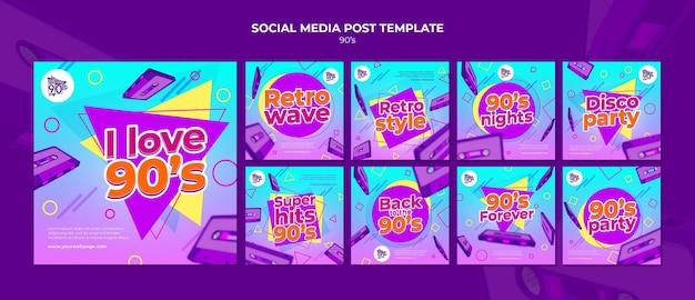 Modèle de conception de publication de médias sociaux insta rétro des années 90