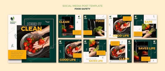 Modèle de conception de publication sur les médias sociaux insta sur la sécurité alimentaire