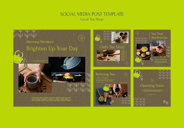 Modèle de conception de publication sur les médias sociaux d'un magasin de thé local