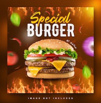 Modèle de conception de publication de médias sociaux de menu de nourriture burger