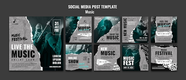 Modèle de conception de publication de médias sociaux de musique