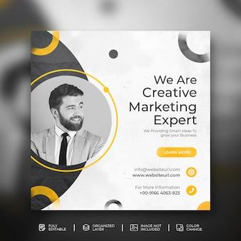 Modèle de conception de publication sur les médias sociaux pour une agence de marketing créatif de solution de promotion d'entreprise