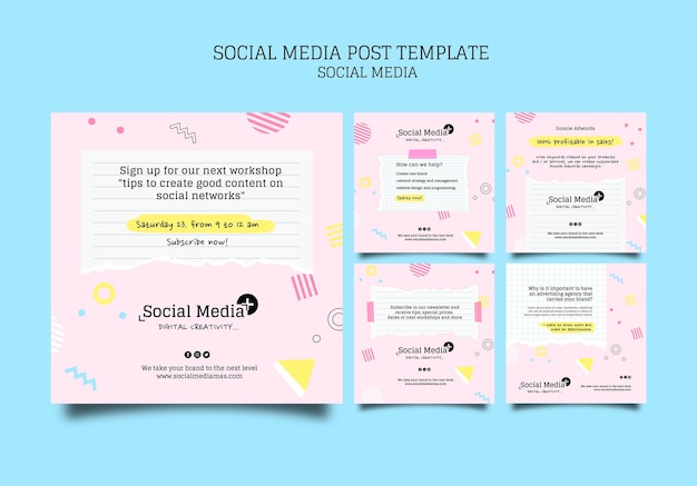 Modèle de conception de publication sur les médias sociaux pour une agence de marketing sur les médias sociaux