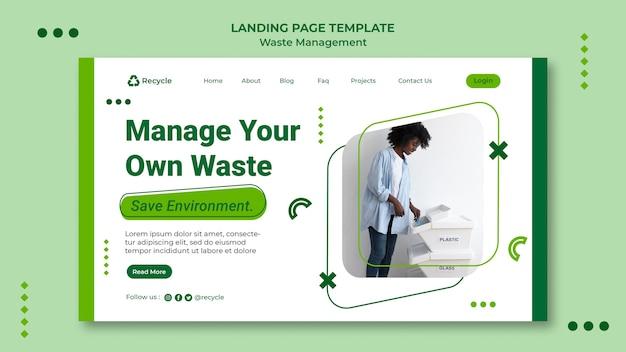 Modèle de conception de publication de page de destination de gestion des déchets