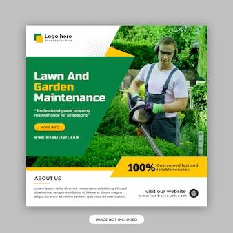 Modèle de conception de publication sur les réseaux sociaux et de bannière web pour l'entretien des pelouses et des jardins