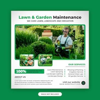 Modèle de conception de publication sur les réseaux sociaux et de conception de bannières web pour l'entretien des pelouses et des jardins