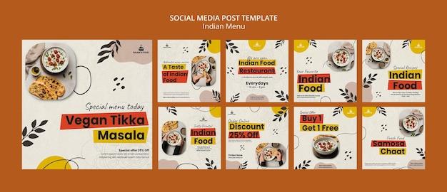 Modèle de conception de publication sur les réseaux sociaux de cuisine indienne