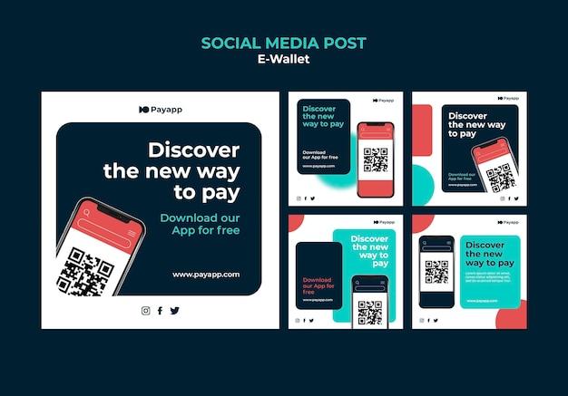 Modèle de conception de publication sur les réseaux sociaux ewallet