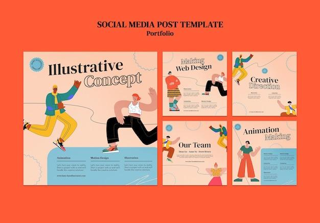 Modèle de conception de publication sur les réseaux sociaux insta de portfolio