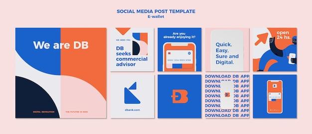 Modèle de conception de publication sur les réseaux sociaux de portefeuille électronique