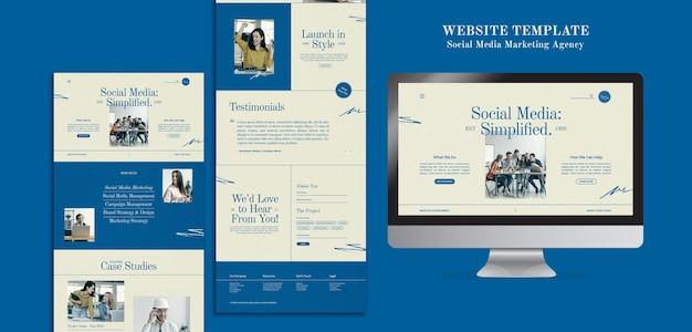 Modèle de conception de sites web d'agence de marketing de médias sociaux