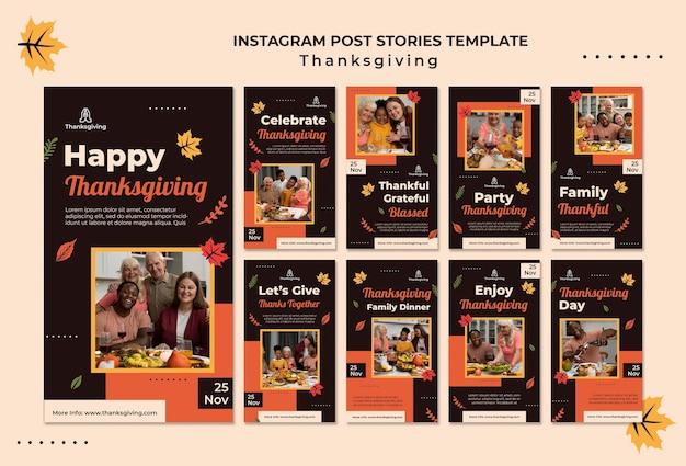Modèle de conception de thanksgiving d'histoires instagram