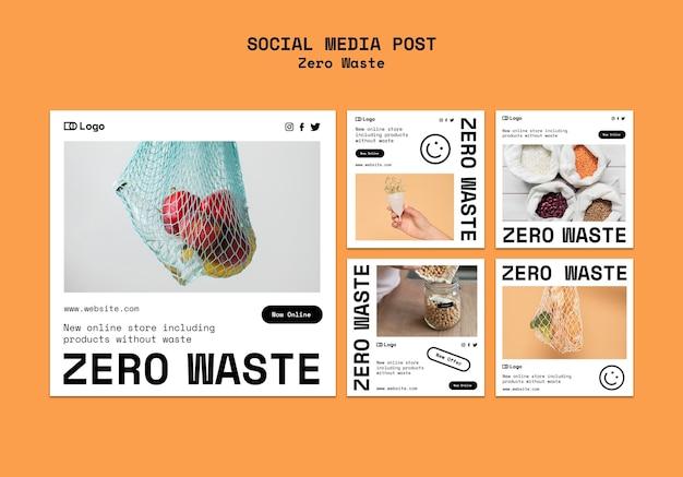 Modèle de conception zéro déchet publication sur les réseaux sociaux