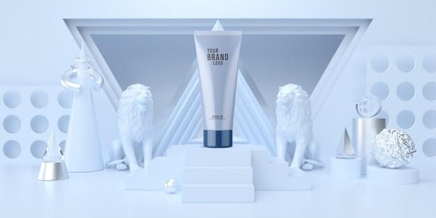 Modèle cosmétique abstrait studio bleu minimal avec podium et forme géométrique couleur pastel rendu 3d