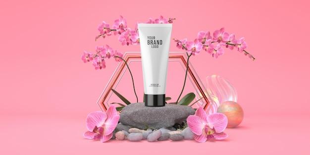 Modèle cosmétique studio rose avec podium rock et tube couleur pastel crème rendu 3d