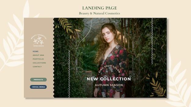 Modèle de cosmétiques naturels de page de destination