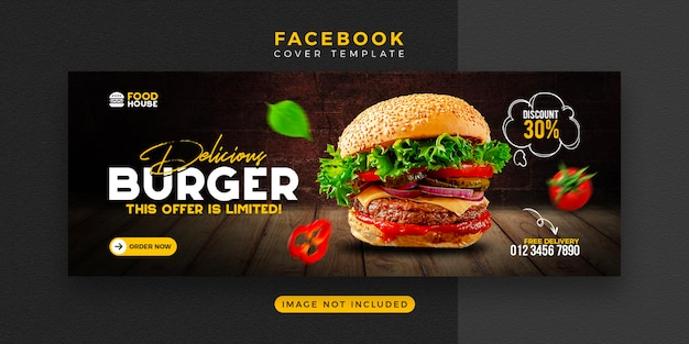 Modèle de couverture facebook de menu de nourriture délicieuse