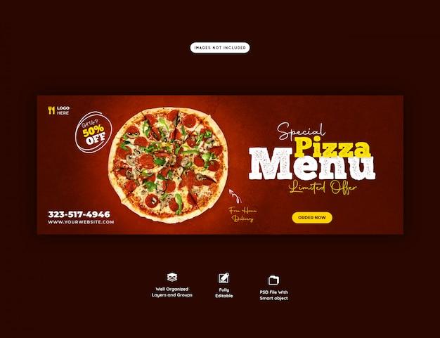 Modèle de couverture facebook de menu de vente de plats délicieux