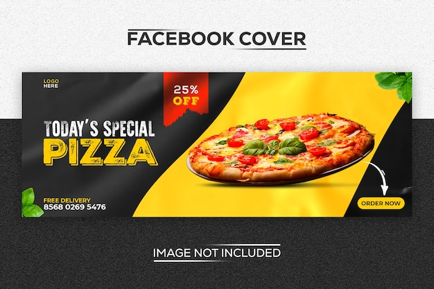 Modèle de couverture facebook moderne pizza