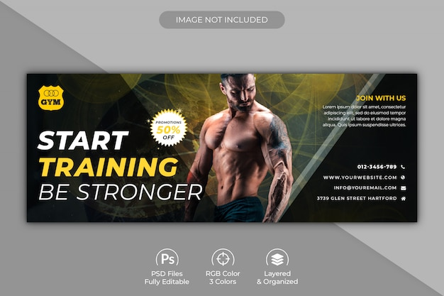 Modèle de couverture facebook promotionnelle pour centre de fitness ou de gym