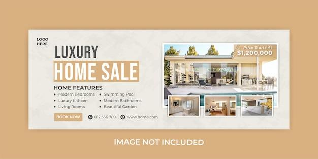 Modèle de couverture facebook de vente de maison de luxe