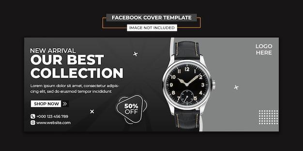 Modèle de couverture des médias sociaux et facebook de montre moderne