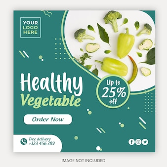 Modèle de couverture de médias sociaux de fruits et légumes biologiques frais