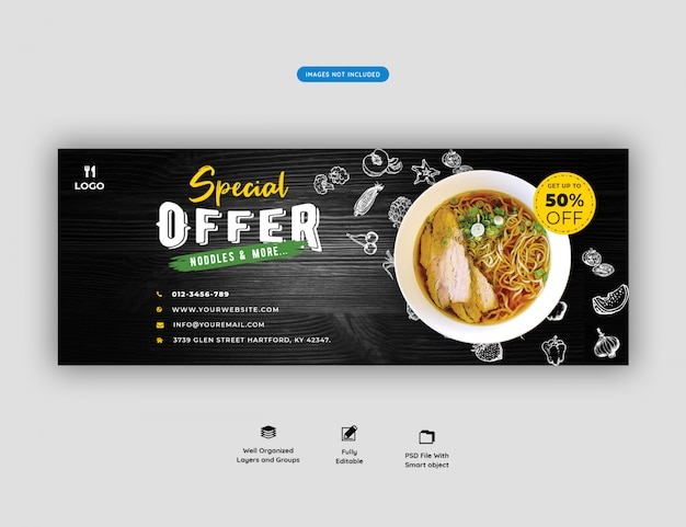 Modèle de couverture de menu alimentaire et de restaurant facebook