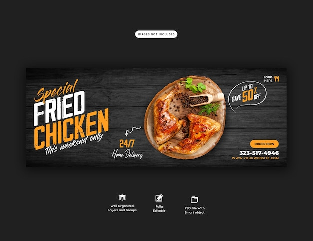 Modèle de couverture de menu de nourriture et de restaurant facebook