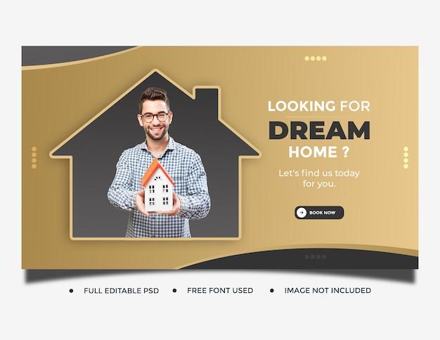Modèle de couverture de publication sur les médias sociaux de la maison immobilière